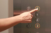Forefinger pressing the eighth floor button in the elevator.