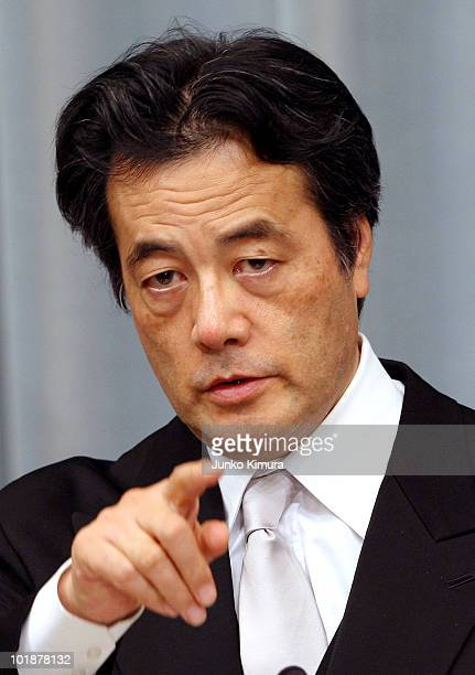 Foregin Minister Katsuya Okada speaks during a press conference at the Prime Minister's official residence on June 8 2010 in Tokyo Japan Naoto Kan...
