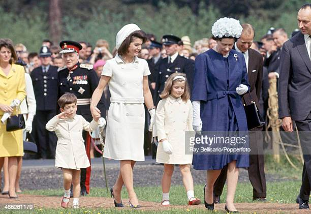 Foreground left to right John F Kennedy Junior Jacqueline Kennedy Caroline Kennedy Queen Elizabeth II and Prince Philip on the occasion of the...