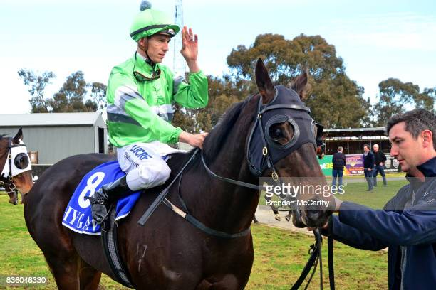 Foreign Affair ridden by Chris Symons returns to the mounting yard after winning the Border Inn Murray Mallee Winter Sprint Final at Echuca...