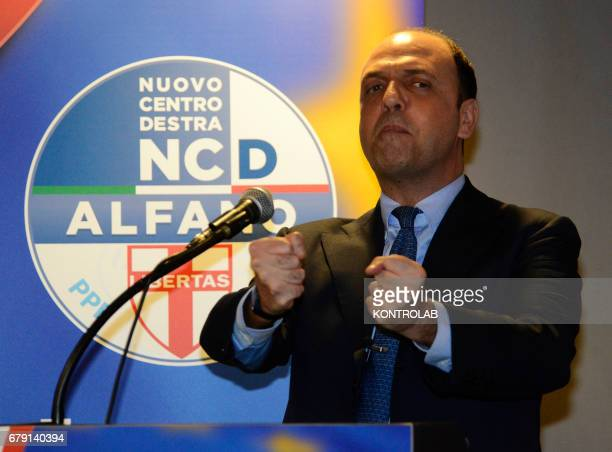 Foreign Affairs Italian Minister Angelino Alfano gestures during press conference in Naples city
