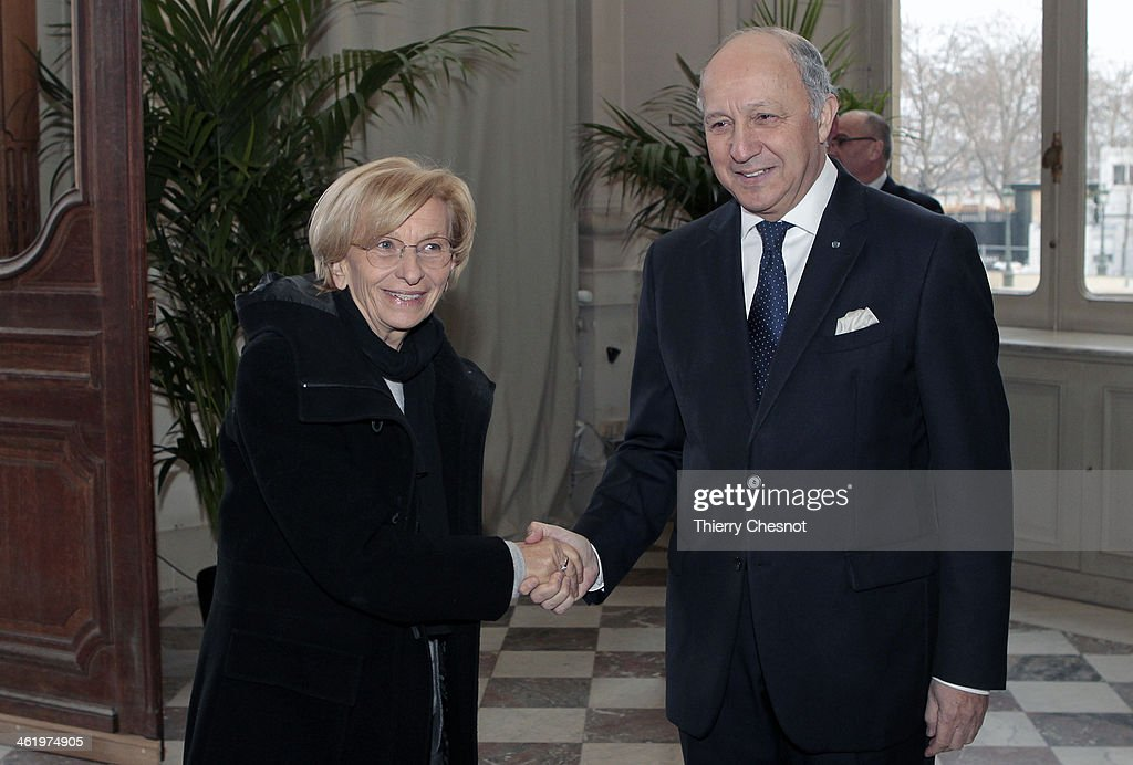 Foreign Affairs Minister, <a gi-track='captionPersonalityLinkClicked' href=/galleries/search?phrase=Laurent+Fabius&family=editorial&specificpeople=540660 ng-click='$event.stopPropagation()'>Laurent Fabius</a> (R) welcomes Italian Foreign Affairs <a gi-track='captionPersonalityLinkClicked' href=/galleries/search?phrase=Emma+Bonino&family=editorial&specificpeople=539913 ng-click='$event.stopPropagation()'>Emma Bonino</a> before an international meeting of the Friends of Syria Core Group on January 12, 2014 in Paris, France. Ministers from the Friends of Syria Core Group met with the leaders of the mainstream opposition to Syrian President Bashar al-Assad in Paris today to discuss the peace conference which is due to take place in Geneva in 10 days time. The Syrian National Coalition opposition forces remain undecided on whether they will attend the peace talks.