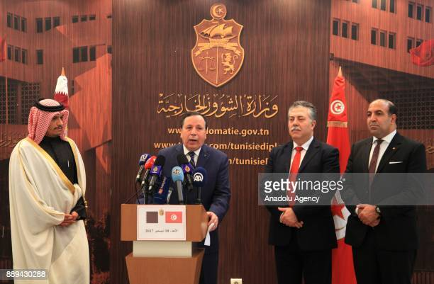 Foreign Affairs Minister of Qatar Mohammed bin Abdulrahman Al Thani and Tunisian Foreign Minister Humeys AlCihinavi hold a joint press conference at...