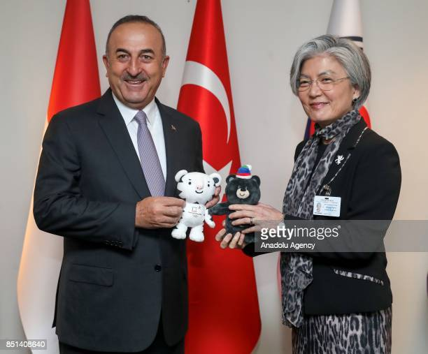 Foreign Affairs Minister of Turkey Mevlut Cavusoglu and Foreign Affairs Minister of South Korea Kang KyungWha hold the 2018 Winter Olympics as they...
