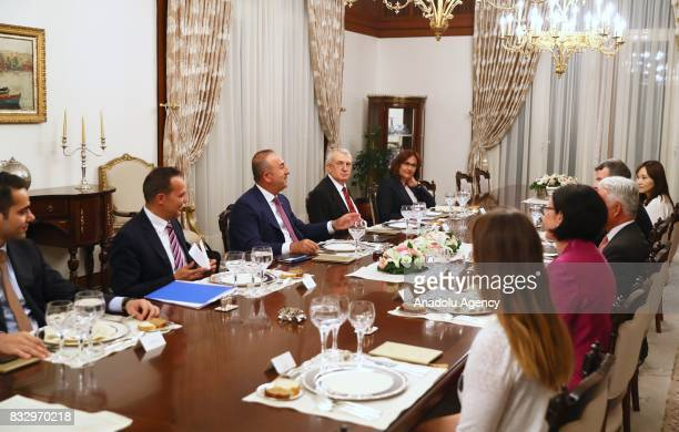 Foreign Affairs Minister of Turkey Mevlut Cavusoglu hosts a dinner honoring British Minister of State for Europe and the Americas Alan Duncan at...