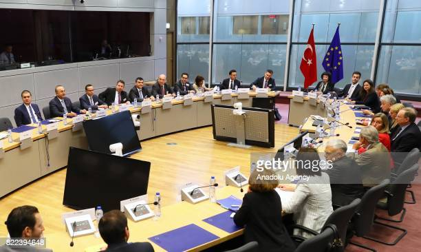 Foreign Affairs Minister of Turkey Mevlut Cavusoglu Minister for European Union Affairs of Turkey Omer Celik meet with The European Unions High...