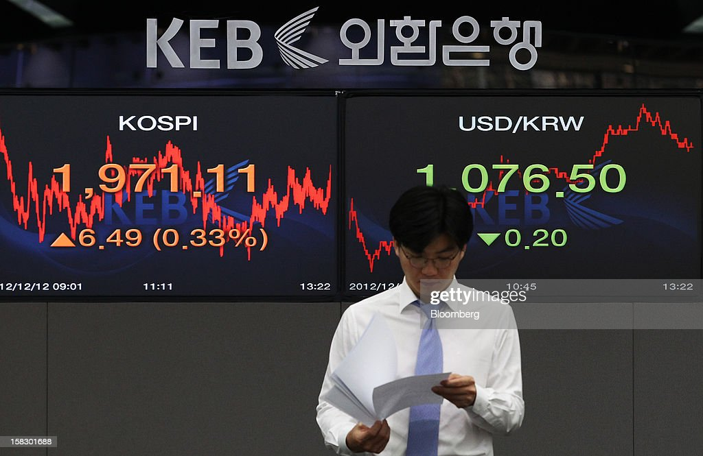 A foreign currency dealer walks past a monitor displaying the Korea Composite Stock Price Index (Kospi), left, and the exchange rate between the South Korean won and the U.S. dollar in a dealing room at the Korea Exchange Bank headquarters in Seoul, South Korea, on Wednesday, Dec. 12, 2012. South Korea's won traded near a 15-month high and stocks extended gains after North Korea launched a rocket in defiance of international sanctions. Photographer: SeongJoon Cho/Bloomberg via Getty Images