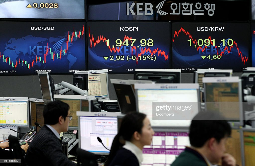 Foreign currency dealers work in front of a monitor displaying the Korea Composite Stock Price Index (Kospi), center, and the exchange rate between the South Korean won and the U.S. dollar, right, in a dealing room at the Korea Exchange Bank headquarters in Seoul, South Korea, on Tuesday, Feb. 12, 2013. Photographer: SeongJoon Cho/Bloomberg via Getty Images