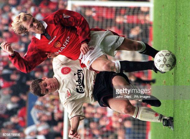 Foreign imports to the FA Carling Premiership Jordi Cruyff of Manchester United and Stig Inge Bjornebye of Liverpool in their clash at Old Trafford...