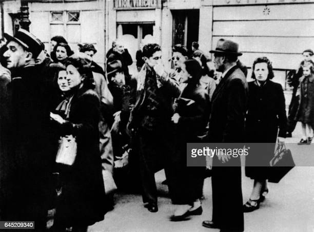Foreign Jews gathered on May 14 1941 during the Vel' d'Hiv Roundup in Paris as Jews living in france arrive at the velodrome with a convocation...
