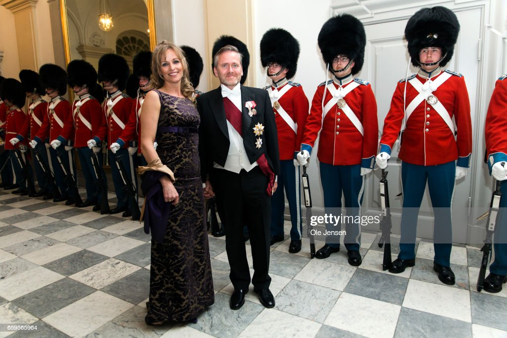 Foreign Minister Anders Samuelsen and wife during arrival to the to the State Dinner on the occasion of the visiting Belgian King and Queen at Christiansborg on March 28, 2017 in Copenhagen, Denmark. The royal Belgian couple will be on a state visit from March 28 till March 30.