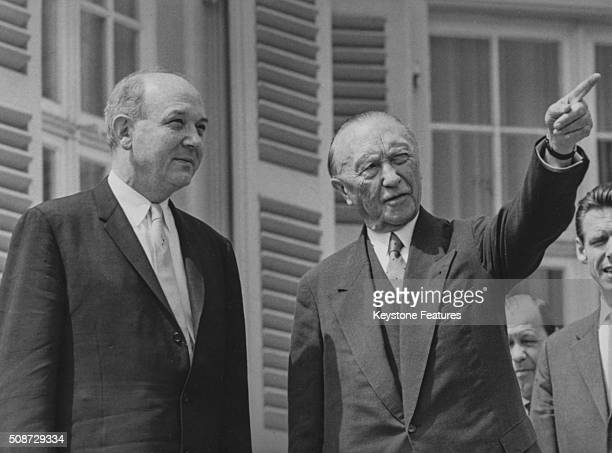 US Foreign Minister Dean Rusk being shown around by German Chancellor Konrad Adenauer during a visit to Bonn June 22nd 1962