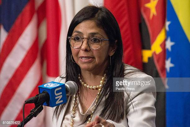 Foreign Minister Delcy Rodriguez speaks with the UN press corps Following a United Nations Security Council session dedicated to discussion of...