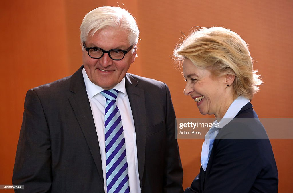 Foreign Minister FrankWalter Steinmeier and Defense Minister Ursula von der Leyen arrive for the weekly German federal Cabinet meeting on August 20...