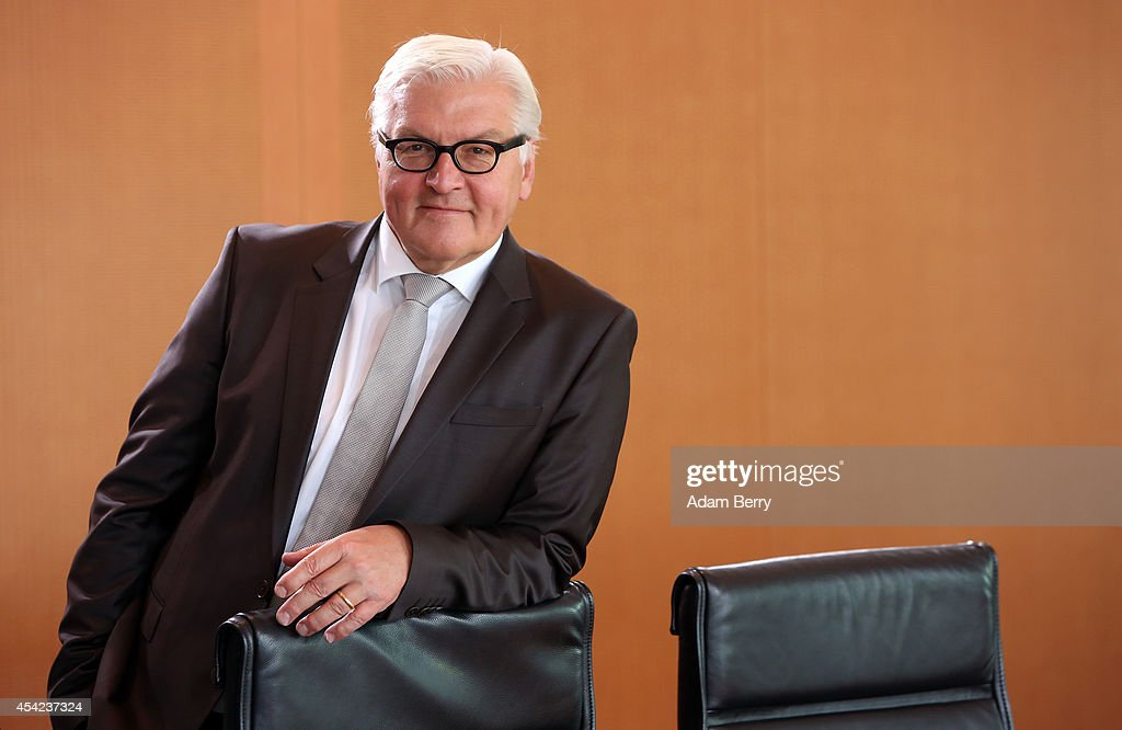 Foreign Minister FrankWalter Steinmeier arrives for the weekly German federal Cabinet meeting on August 27 2014 in Berlin Germany High on the...