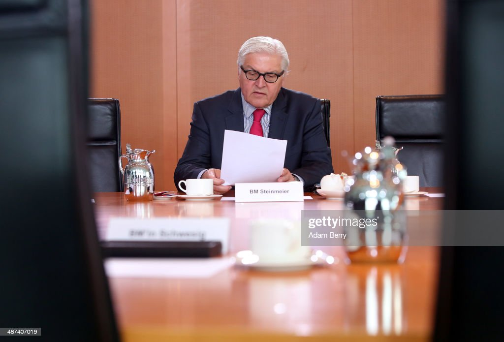 Foreign Minister FrankWalter Steinmeier arrives for the weekly German federal Cabinet meeting on April 30 2014 in Berlin Germany High on the...