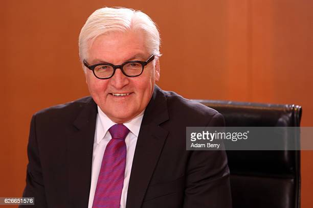 Foreign Minister FrankWalter Steinmeier arrives for the weekly German federal Cabinet meeting on November 30 2016 in Berlin Germany High on the...