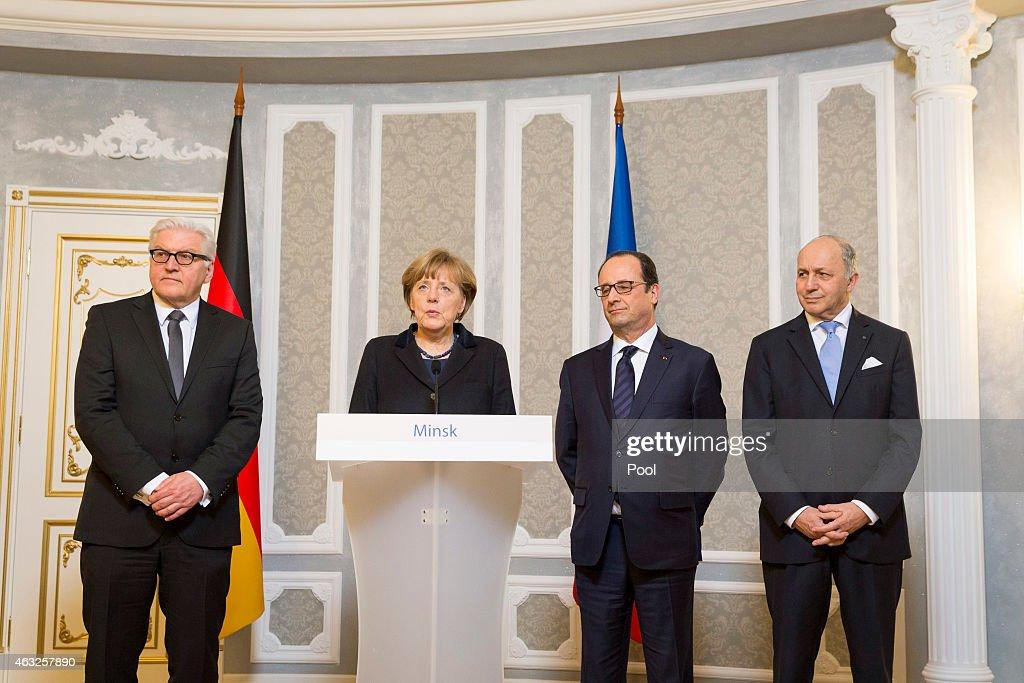Foreign Minister FrankWalter Steinmeier Chancellor Angela Merkel French President Francois Hollande and French Foreign Minister Laurent Fabius make a...