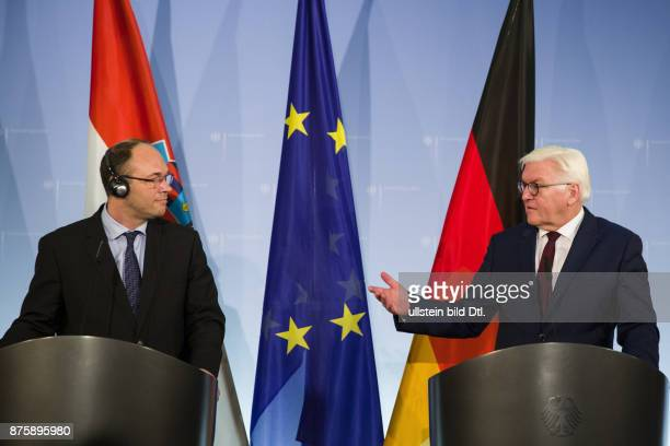 Foreign Minister FrankWalter Steinmeier welcomes his new Croatian official colleague Davor Stier on 14 December 2016 at the Foreign Office in Berlin...