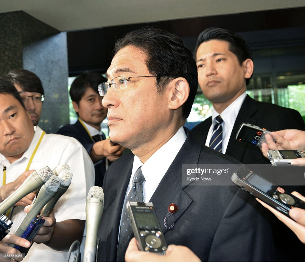Foreign Minister Fumio Kishida is surrounded by reporters on May 30, 2016, at his ministry in Tokyo, after a new image believed to be that of Japanese freelance journalist Jumpei Yasuda who went missing in Syria in 2015 surfaced. Kishida said the government will do utmost to secure safety of Yasuda by using various information networks.