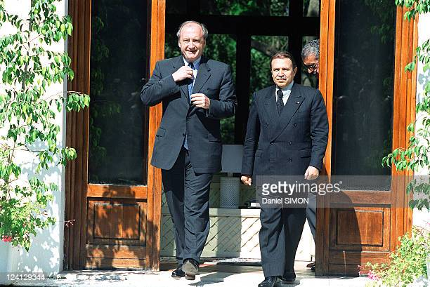 Foreign Minister Hubert Vedrine's visits to Algiers In Algiers Algeria On July 30 1999 Abdelaziz Bouteflika President of Algeria with Hubert Vedrine