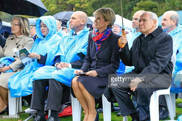 Foreign Minister Julie Bishop and former Prime Minister John Howard at the Port Arthur 20th Anniversary Commemoration Service on April 28 2016 in...