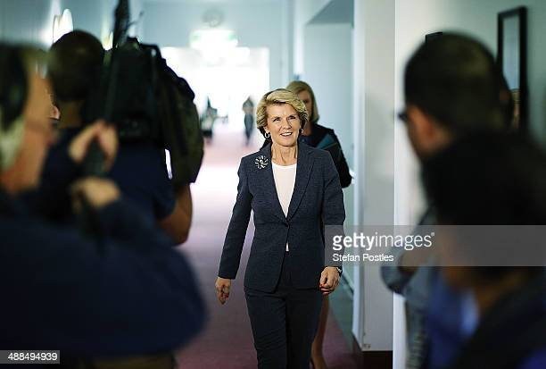 Foreign Minister Julie Bishop arrives at the launch of the Mid Winter Ball at Parliament House on May 7 2014 in Canberra Australia