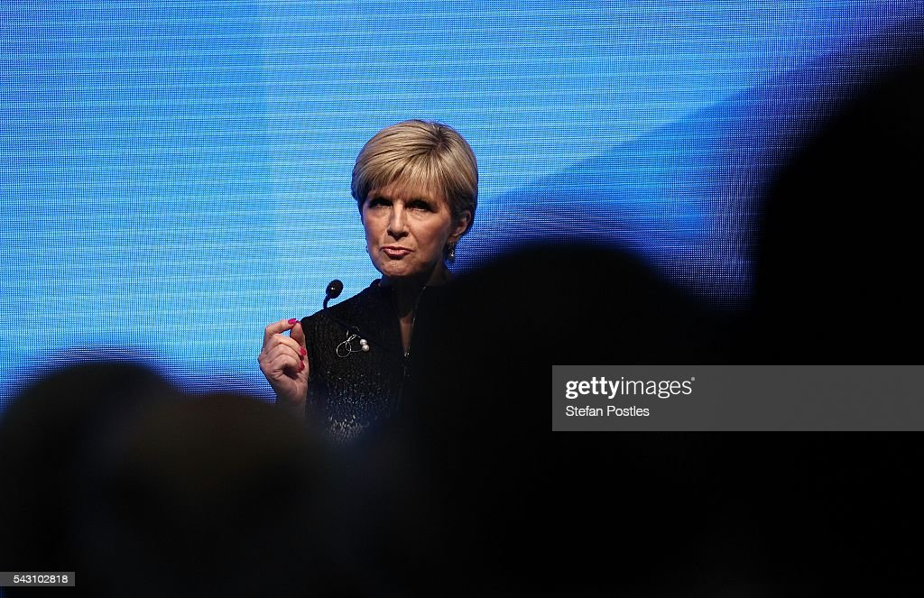 Foreign Minister <a gi-track='captionPersonalityLinkClicked' href=/galleries/search?phrase=Julie+Bishop&family=editorial&specificpeople=1198450 ng-click='$event.stopPropagation()'>Julie Bishop</a> speaks during the Liberal Party 2016 Federal Campaign Launch on June 26, 2016 in Sydney, Australia. Malcolm Turnbull's speech centred on the importance of the economic plan and stability, especially in the wake of Brexit.