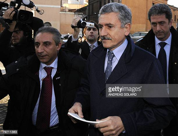 Foreign Minister Massimo D'Alema arrives for his meeting with Walter Veltroni leader of centreleft Democratic Party and coalition members at PD...