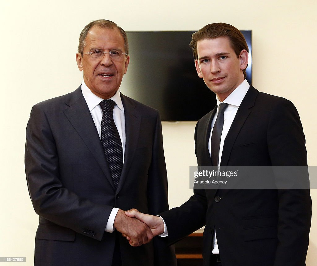 Foreign Minister of Austria Sebastian Kurz (R) and Russian Foreign Minister Sergey Lavrov (L) shake hands before the 124th Foreign Ministers' meeting of the Council of Europe in Vienna, Austria on may 6, 2014.