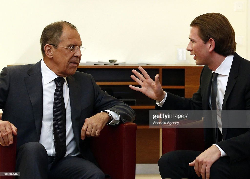 Foreign Minister of Austria Sebastian Kurz (R) meets Russian Foreign Minister Sergey Lavrov (L) before the 124th Foreign Ministers' meeting of the Council of Europe in Vienna, Austria on may 6, 2014.