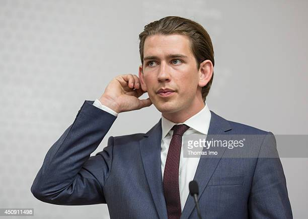 Foreign Minister of Austria Sebastian Kurz speaks during a press conference with German Foreign Minister FrankWalter Steinmeier in Vienna on June 19...