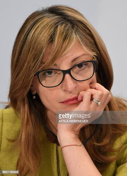 Foreign Minister of Bulgaria Ekaterina Zakharieva looks on during a press conference after a meeting with the Visegrad group in Budapest on October...