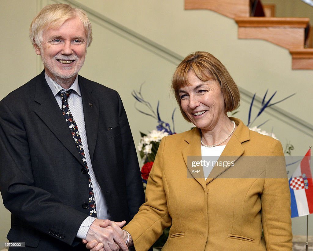 Foreign Minister of Croatia, Vesna Pusic meets with Finland's Foreign Minister Erkki Tuomioja (L) during her visit to Helsinki, Finland, on 28. November 2012.