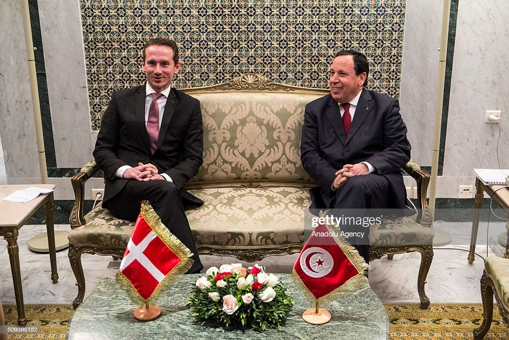 Foreign Minister of Denmark, Kristian Jensen (L) and Tunisian Foreign Minister Khemaies Jhinaoui (R) meet at Foreign Ministry Building in Tunis, Tunisia on February 10, 2016.