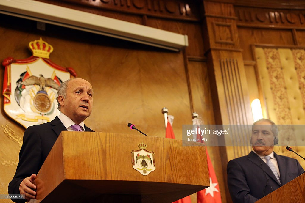 Foreign Minister of France <a gi-track='captionPersonalityLinkClicked' href=/galleries/search?phrase=Laurent+Fabius&family=editorial&specificpeople=540660 ng-click='$event.stopPropagation()'>Laurent Fabius</a> holds a press conference with his Jordanian counterpart <a gi-track='captionPersonalityLinkClicked' href=/galleries/search?phrase=Nasser+Judeh&family=editorial&specificpeople=3465453 ng-click='$event.stopPropagation()'>Nasser Judeh</a> upon his arrival for talks in Amman, Jordan, July 19, 2014.