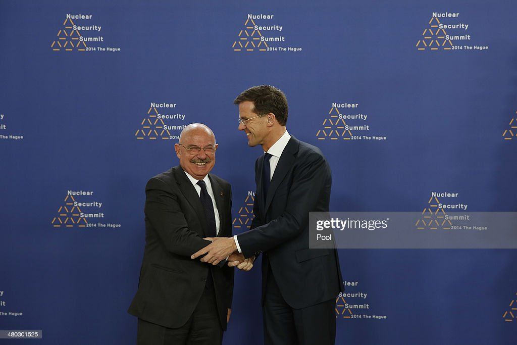 Foreign Minister of Hungary János Martonyi shakes hands with Prime Minister of the Netherlands <a gi-track='captionPersonalityLinkClicked' href=/galleries/search?phrase=Mark+Rutte&family=editorial&specificpeople=4509362 ng-click='$event.stopPropagation()'>Mark Rutte</a> at the World Forum Convention Center ahead of the 2014 Nuclear Security Summit on March 24, 2014 in The Hague, Netherlands. The Nuclear Security Summit, held March 24-25, will be attended by world leaders and is aimed at preventing nuclear terrorism.