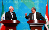 Foreign Minister of Iran Mohammad Javad Zarif and Foreign Minister of Iraq Hoshyar Zebari hold a joint press conference after a meeting in Baghdad...