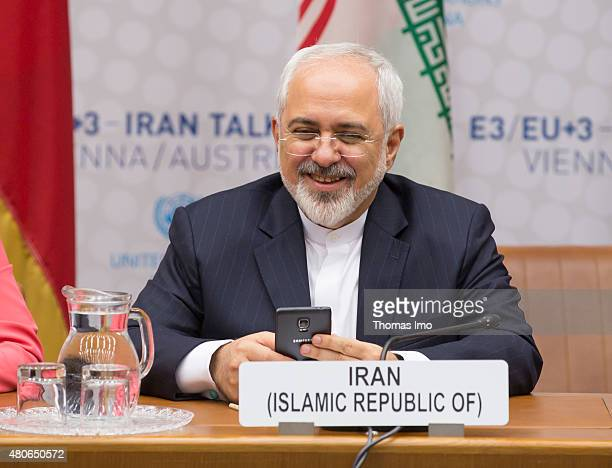 Foreign Minister of Iran Mohammad Javad Zarif attends last Working Session of E 33 negotiations on July 14 2015 in Vienna Austria Six world powers US...
