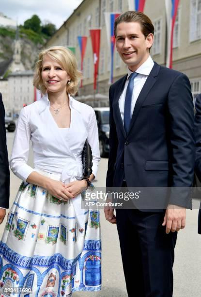 Foreign Minister of Liechtenstein Aurelia Frick and Austrian Foreign Minister Sebastian Kurz arrive for the opening ceremony of the Salzburg Festival...