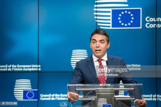 Foreign Minister of Macedonia Nikola Dimitrov gestures during a press conference after a EUMacedonia Stabilisation and Association Council in...