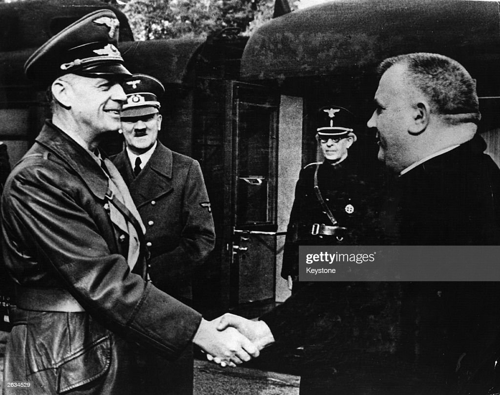Foreign minister of Nazi Germany Joachim Von Ribbentrop greeting Jozef Tiso at Adolf Hitler's Headquarters Original Publication People Disc HK0467