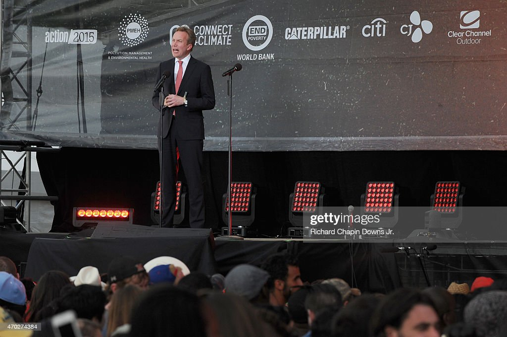 Foreign Minister of Norway Borg Brende speaks onstage during Global Citizen 2015 Earth Day on National Mall to end extreme poverty and solve climate change on April 18, 2015 in Washington, DC.