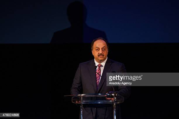 Foreign Minister of Qatar Khalid bin Mohammad Al Attiyah speaks during an event marking the 2nd year anniversary of QatariTunisian Friendship Fund in...