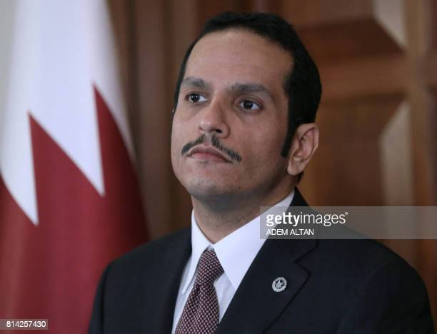 Foreign Minister of Qatar Mohammed bin Abdulrahman bin Jassim AlThani looks on during a joint press conference with Turkish Foreign Minister Mevlut...
