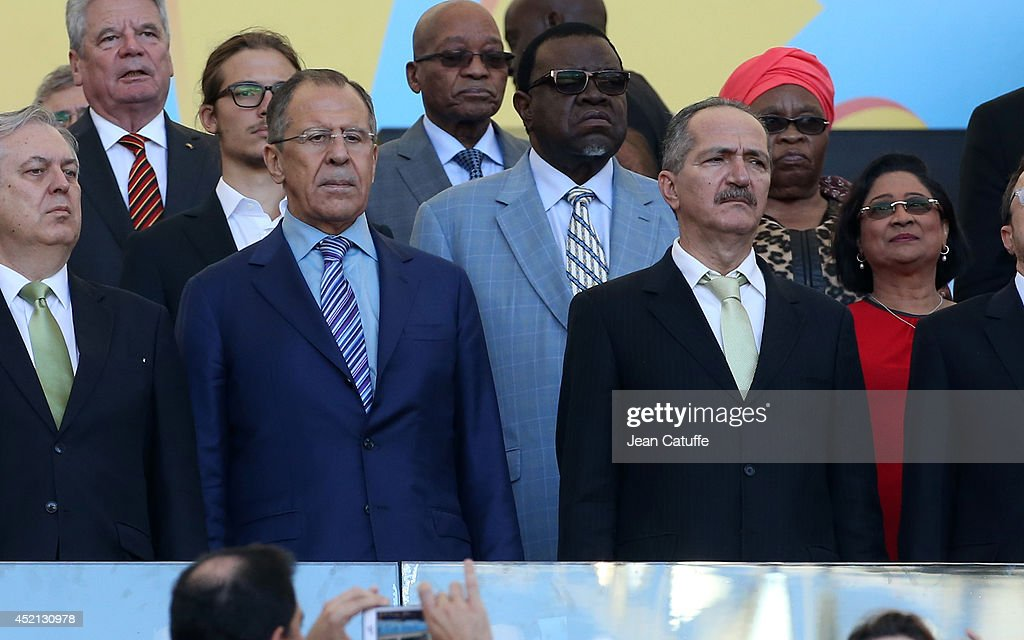 Foreign Minister of Russia Sergey Lavrov and Sports Minister of Brazil <a gi-track='captionPersonalityLinkClicked' href=/galleries/search?phrase=Aldo+Rebelo&family=editorial&specificpeople=772117 ng-click='$event.stopPropagation()'>Aldo Rebelo</a> attend the 2014 FIFA World Cup Brazil Final match between Germany and Argentina at Estadio Maracana on July 13, 2014 in Rio de Janeiro, Brazil.