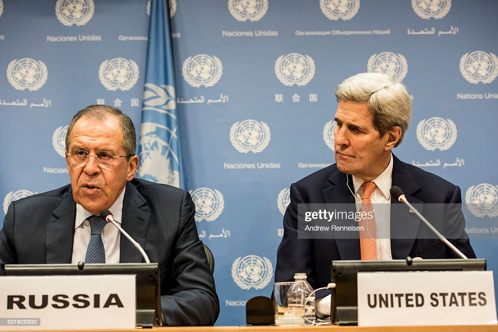 Foreign Minister of Russia Sergey Lavrov and US Secretary of State John Kerry speak at a news conference after a United Nations Security Council meeting on Syria at the United Nations in New York on December 18, 2015. 20 nations from around the world gathered to discuss the ongoing conflict.