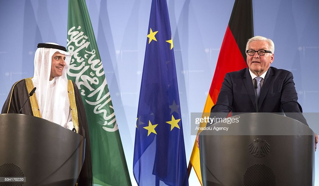 Foreign Minister of Saudi Arabia Adel al-Jubeir (L) and German Foreign Minister Frank-Walter Steinmeier (R) hold a press conference after their talks in Berlin, Germany on May 25, 2016.