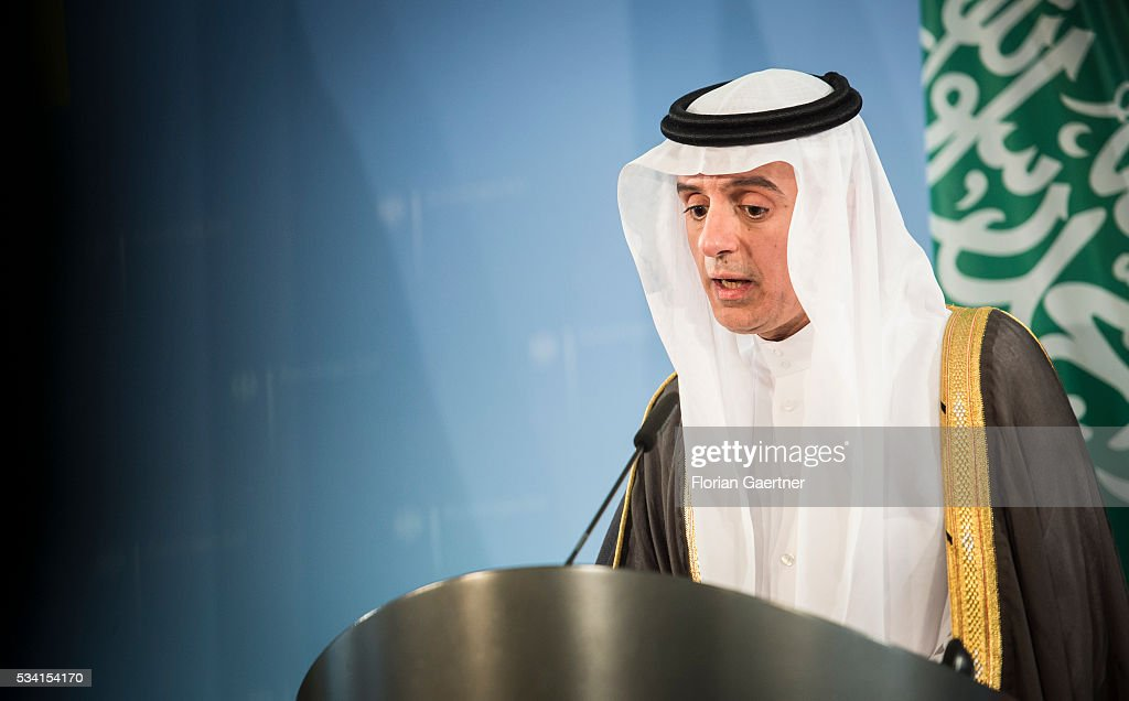 Foreign Minister of Saudi-Arabia Adel al-Dschubeir during a press conference with German Foreign Minister Frank-Walter Steinmeier (not pictured) on May 25, 2016 in Berlin, Germany. The pair met for political talks.
