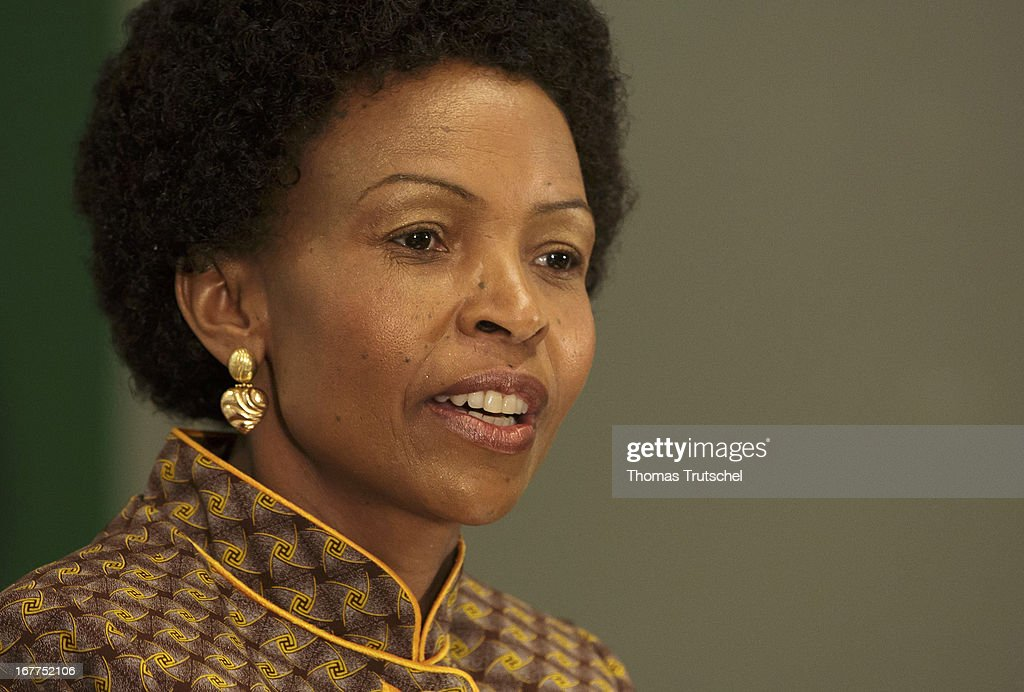 Foreign Minister of South Africa, <a gi-track='captionPersonalityLinkClicked' href=/galleries/search?phrase=Maite+Nkoana-Mashabane&family=editorial&specificpeople=3056332 ng-click='$event.stopPropagation()'>Maite Nkoana-Mashabane</a>, is pictured during a press conference with German Foreign Minister Guido Westerwelle (not pictured) on April 29, 2013 in Pretoria, South Africa. Westerwelle is on a four day trip to Africa with Stops in Ghana, South Africa and Mozambique.